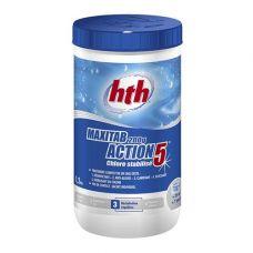 Таблетки стабилизированного хлора 5 в 1, 200 гр., maxitab action 5, 1,2 кг, hth.