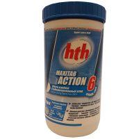 Двухслойная таблетка – быстрый и медленный хлор 6 в 1 HTH 1 кг по 250 гр maxitab action 6