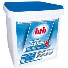 Двухслойная таблетка – быстрый и медленный хлор 6 в 1 HTH 5 кг по 250 гр maxitab action 6